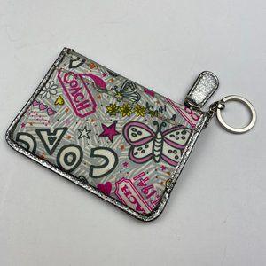 Coach Poppy Silver Pink Card Keychain